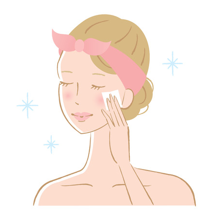 woman cleaning her skin with cotton pad. skincare concept Illustration