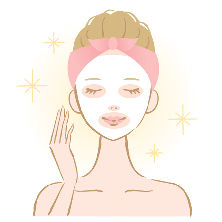 woman applying face pack Ilustracja