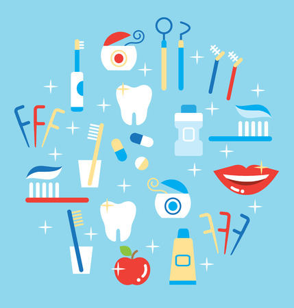 Dental care symbols in the shape of circle Illustration