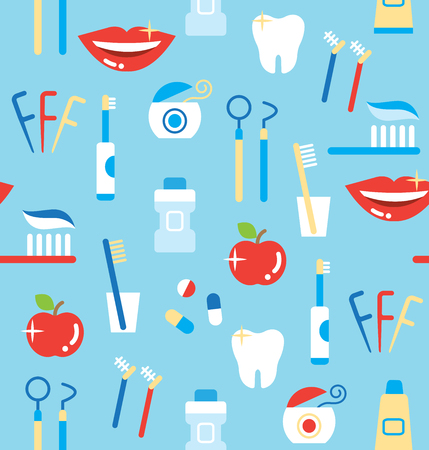 seamless pattern of dental care products: tooth paste, tooth brush, cup, apple, smiling teeth, white tooth, dental floss, and mouthwash Illustration
