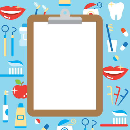 blank clipboard and dental care products: tooth paste, tooth brush, cup, apple, smiling teeth, white tooth, dental floss, and mouthwash