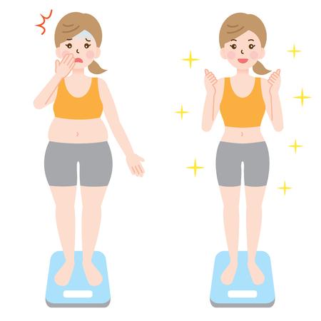 脂肪肥満女性は、スケールで健康的にスリムな女性。