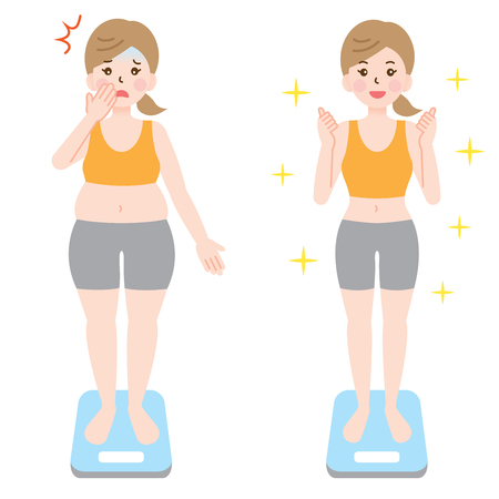 fat obese woman and healthy slim woman on scales. Illustration