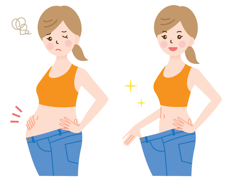 fat woman in blue jeans and slim woman in loose jeans showing successful weight loss