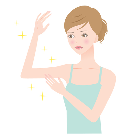 Young woman hold her beautiful right arm bent in elbow touching it with her left hand. Illustration
