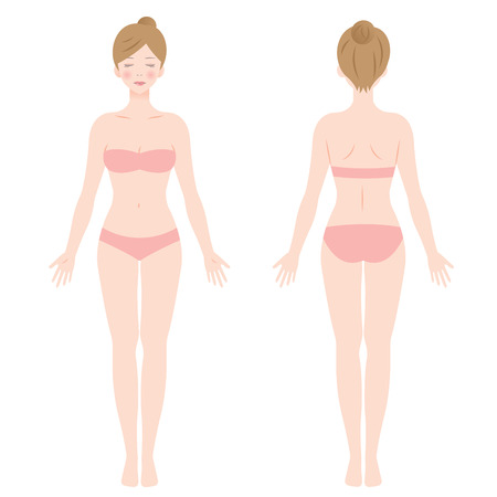 eyes are closed: female body. front and back view. Isolated vector illustration.