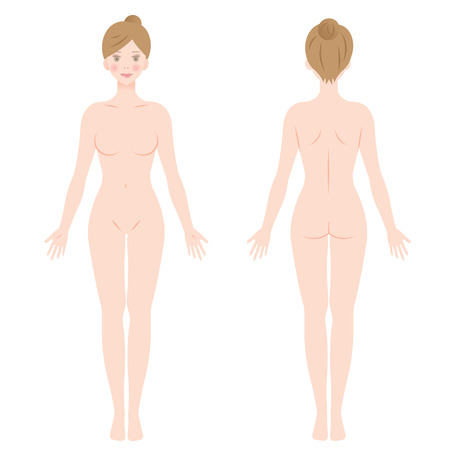 female body. front and back view of a woman.