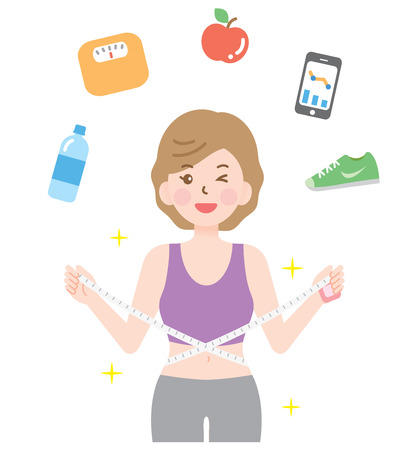 スポーティな女性は彼女のウエストを測定します。ダイエットや健康的なライフ スタイルのコンセプト  イラスト・ベクター素材