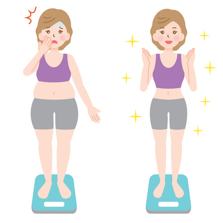 fat obese woman and healthy slim woman on scales. Vectores