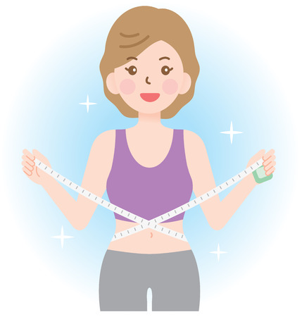 sporty woman measuring her waistline. diet and healthy lifestyle concept