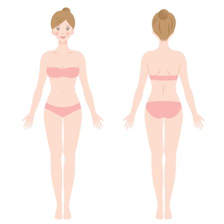 Vorder- und Rückansicht des stehenden weiblichen Körpers Standard-Bild - 85441031