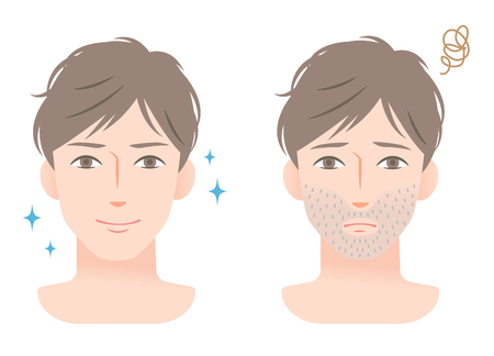 stubble beard young man before and after shaving