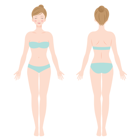 front and back view of standing female in underwear