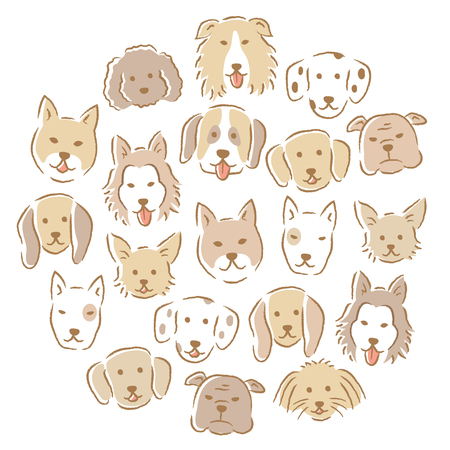 Circle with set of various cute dog faces. hand drawn illustration. poodle,chihuahua, husky, beagle, dalmatian, collie, retriever, bull terrier, pomeranian.