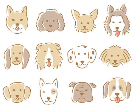 Poodle,chihuahua, husky, beagle, dalmatian, collie, retriever, bull terrier, pomeranian Illustration