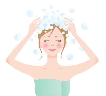 A beautiful woman washing her long hair with rich lather shampoo. beauty and hair care concept Çizim