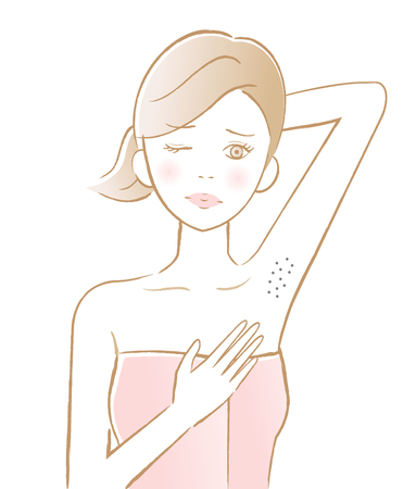female underarm hair removal. blackhead under her arm. beauty and skin care concept
