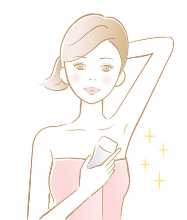 woman armpit hair removal with electric shaver. beauty and skin care concept Stock Illustratie