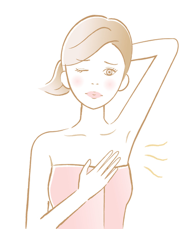 young woman with underarm odor. health care and beauty concept Stock Illustratie