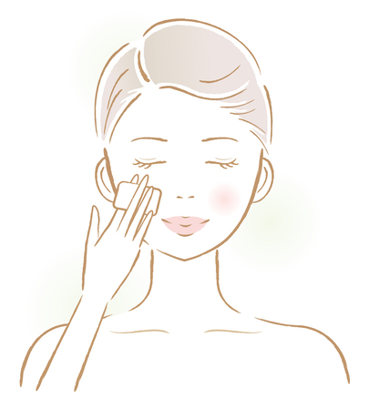 smiling young female applying lotion for facial skin treatment