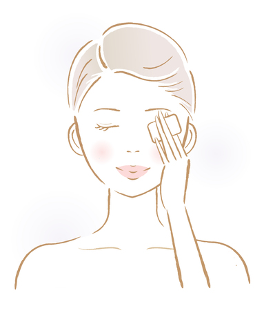 beautiful woman removing make-up with cotton-pad. beauty and skin care concept Illustration