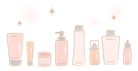 set of cosmetic bottles: lotion, toner, cream, serum, milk, gel, soap, and ointment. beauty and skin care concept