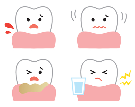 set of gum disease symptoms: bleedng, sensitivity, loose, and pus. oral and dental care concept
