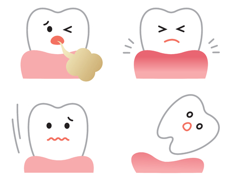 set of gum disease symptoms: inflammation, bad breath, loose teeth, and receding gums. oral and dental care concept