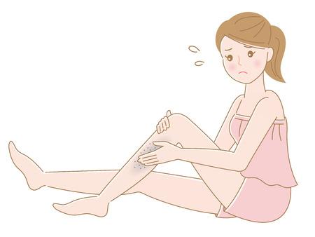 schöne weibliche und unruhige Beinhautillustration für Gesundheit und Hautpflege Vektorgrafik