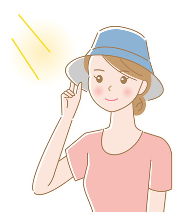 cute female wearing hat to protect from sunburn and heat stroke. isolated on white background