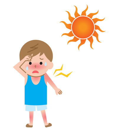 sunburn and boy kid illustration. Health care concept in summer