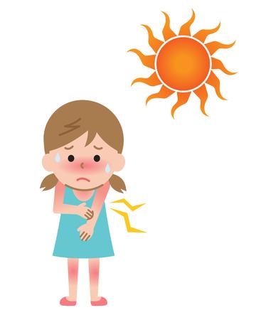 Ilustración de niño niña y quemaduras de sol. Concepto de salud en verano