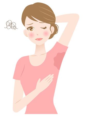 Kobieta pocenie się pod pachą. Koncepcja higieny i opieki zdrowotnej