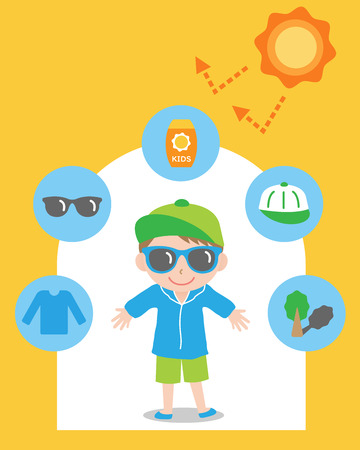 sun safety tips and boy kid illustration. UV protection items,hat,sunglasses,shade,sunscreen,and clothing help protect against the UV rays  Çizim