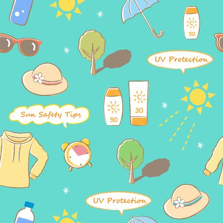 colorful seamless pattern with had drawing sun safety tips: hat, sunscreen, sleeved shirts, sunglasses, shade, time, and hydration.  UV protection skin care concept