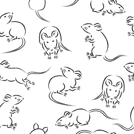 seamless pattern with cute mice illustration. variety of movements and poses, running, standing, and sitting with front, back, and side view