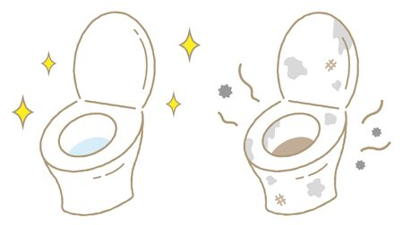 toilet cleaning before and after. Cute cartoon isolated on white background