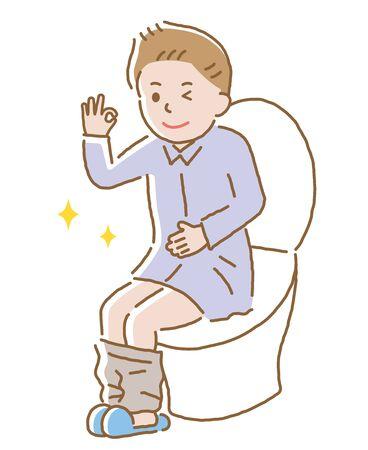 młody uśmiechnięty mężczyzna i muszli klozetowej w toalecie. Na białym tle Ilustracje wektorowe