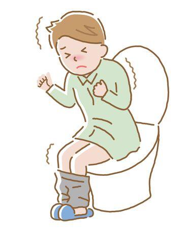 jeune homme souffrant de douleurs à l'estomac aux toilettes. Isolé sur fond blanc