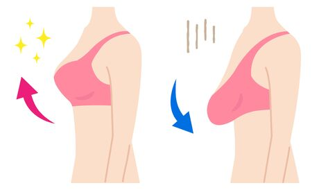 firm and sagging breasts illustration. women's beauty body care concept Ilustrace