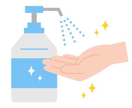 Hand sanitizer disinfection illustration. Isolated on white background