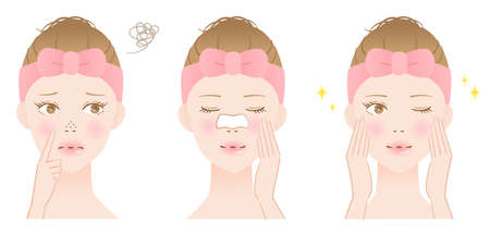 nose pore cleansing mask and young woman illustration. before after. Skin care concept Ilustración de vector