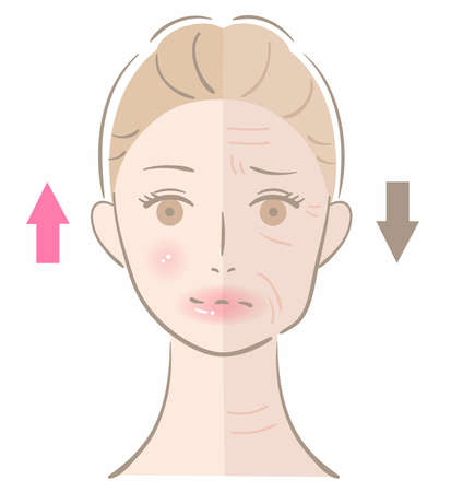 winkle and healthy young skin with woman face. beauty skin care concept