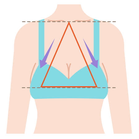 sagging breast shape is isosceles triangle connecting three points from center of clavicle to top boobs.  Beauty and body care concept illustration 向量圖像