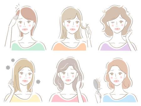 female hair care problem set. Isolated on white background Ilustracja