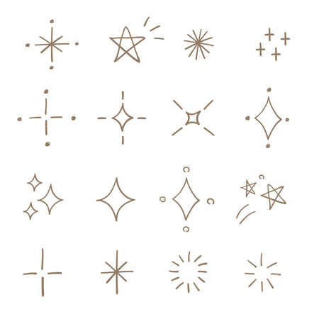 Twinkle and star icon set. Hand drawn style isolated on white background