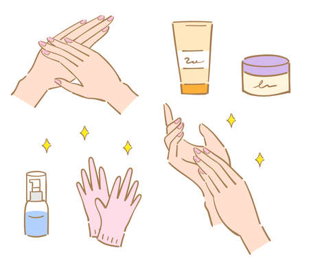hand care and treatment illustration. woman's beauty hand. Isolated on white background