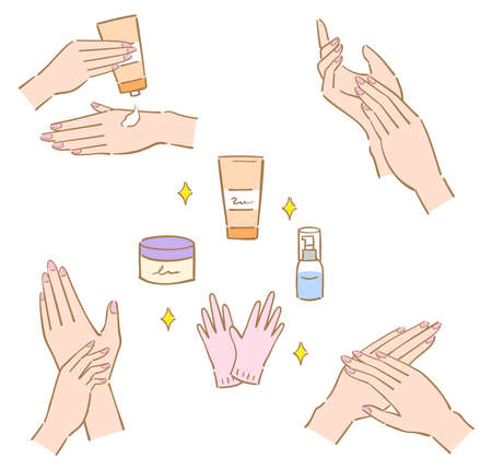 hand care treatment and items illustration. woman's beauty hand. Isolated on white background