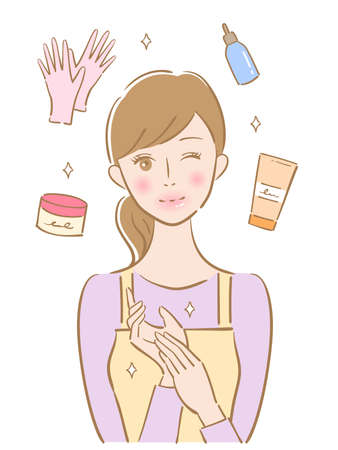 hand care young woman illustration. Beauty and healthy skin care concept
