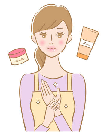 hand care young woman illustration. Beauty and healthy skin care concept Vektorgrafik